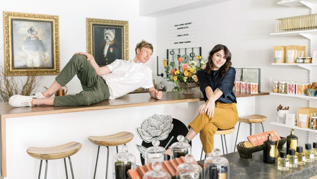 Melissa and Sean Stevenson pose in their new 1,000-square-foot shop, Kaleidoscope Home, on Fifth Avenue South in Naples. The couple built a name for themselves designing floral arrangements inspired by nature for events and weddings in Southwest Florida and beyond. COURTESY KALEIDOSCOPE FLORAL / KAITY BRAWLEY