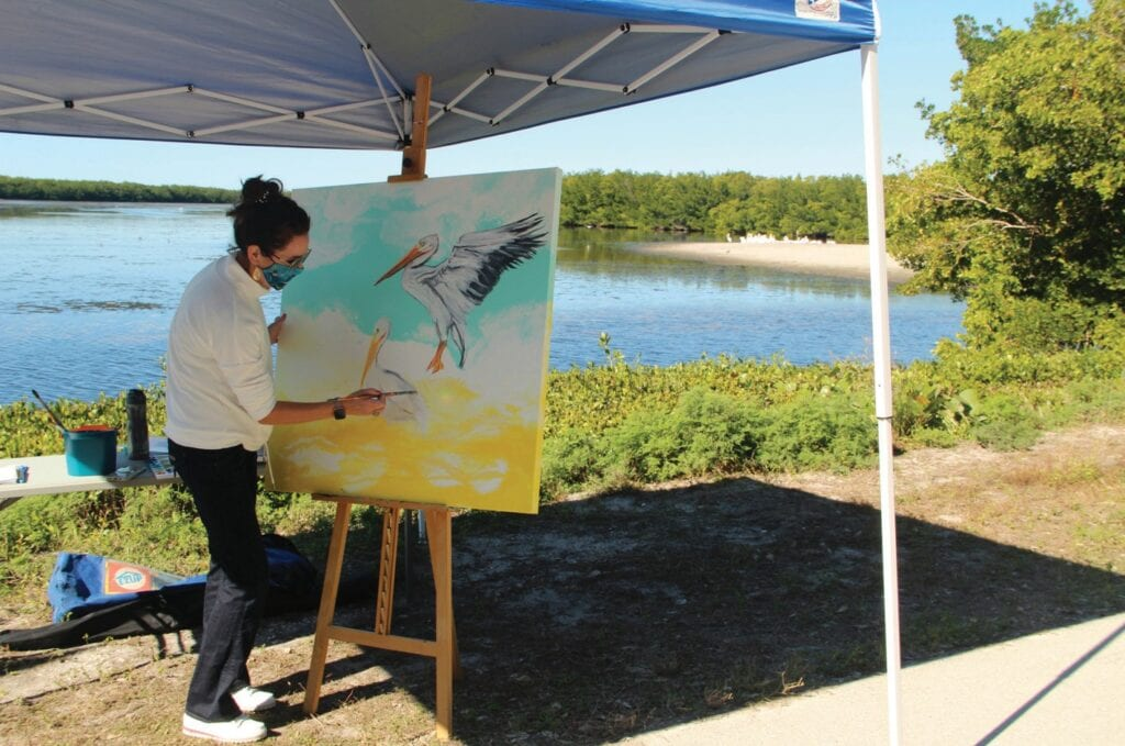 Artist in Residence Rachel Pierce will lead a Paint-a-Spoonbill activity outdoors. COURTESY PHOTO